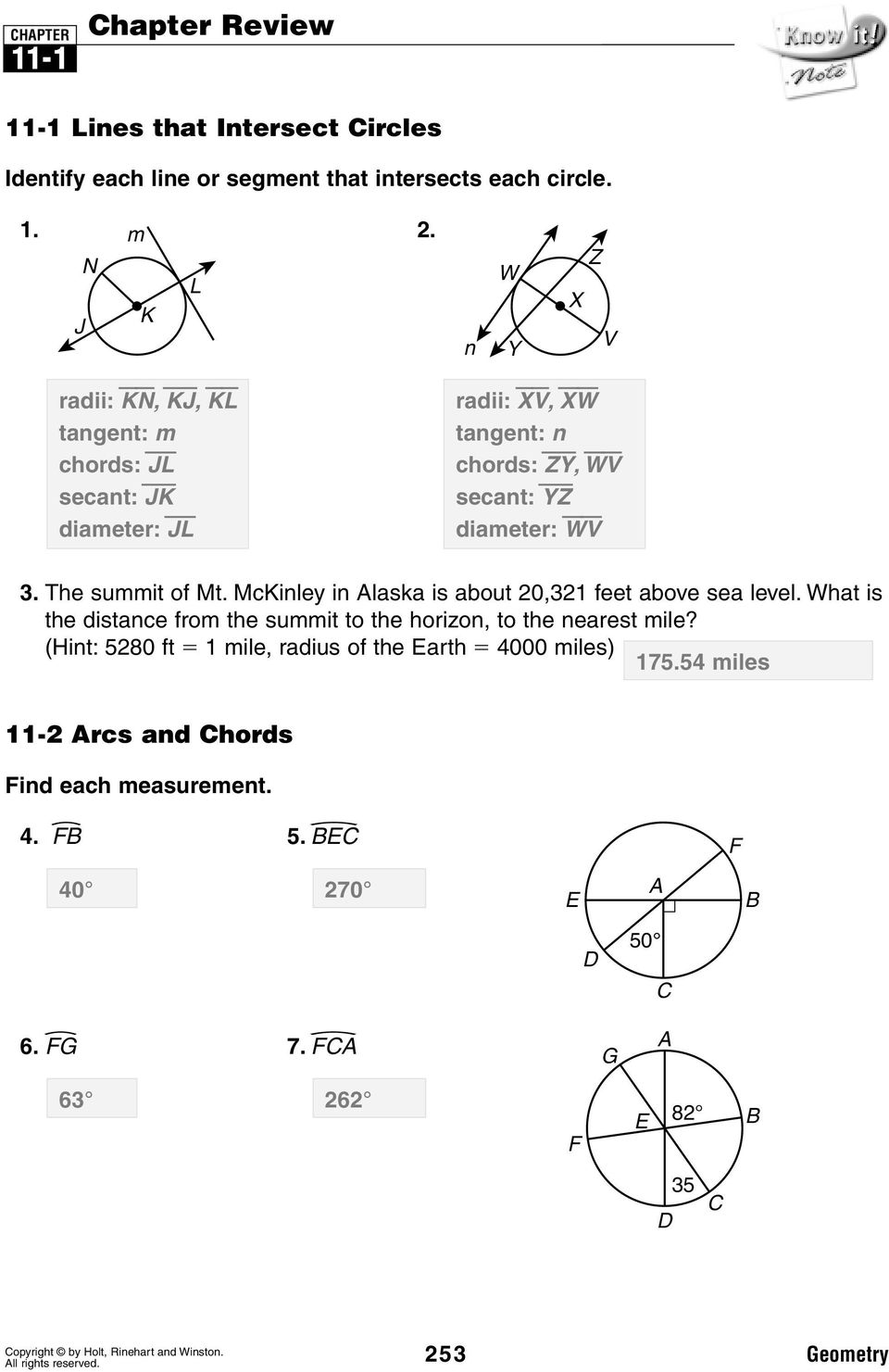 lesson 11-1 problem solving lines that intersect circles answers
