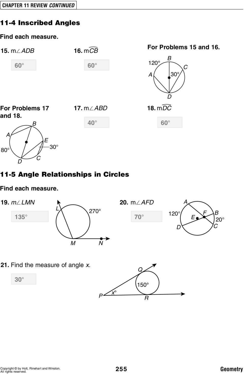 m 40 60 80 30 11-5 ngle Relationships in ircles ind each measure.