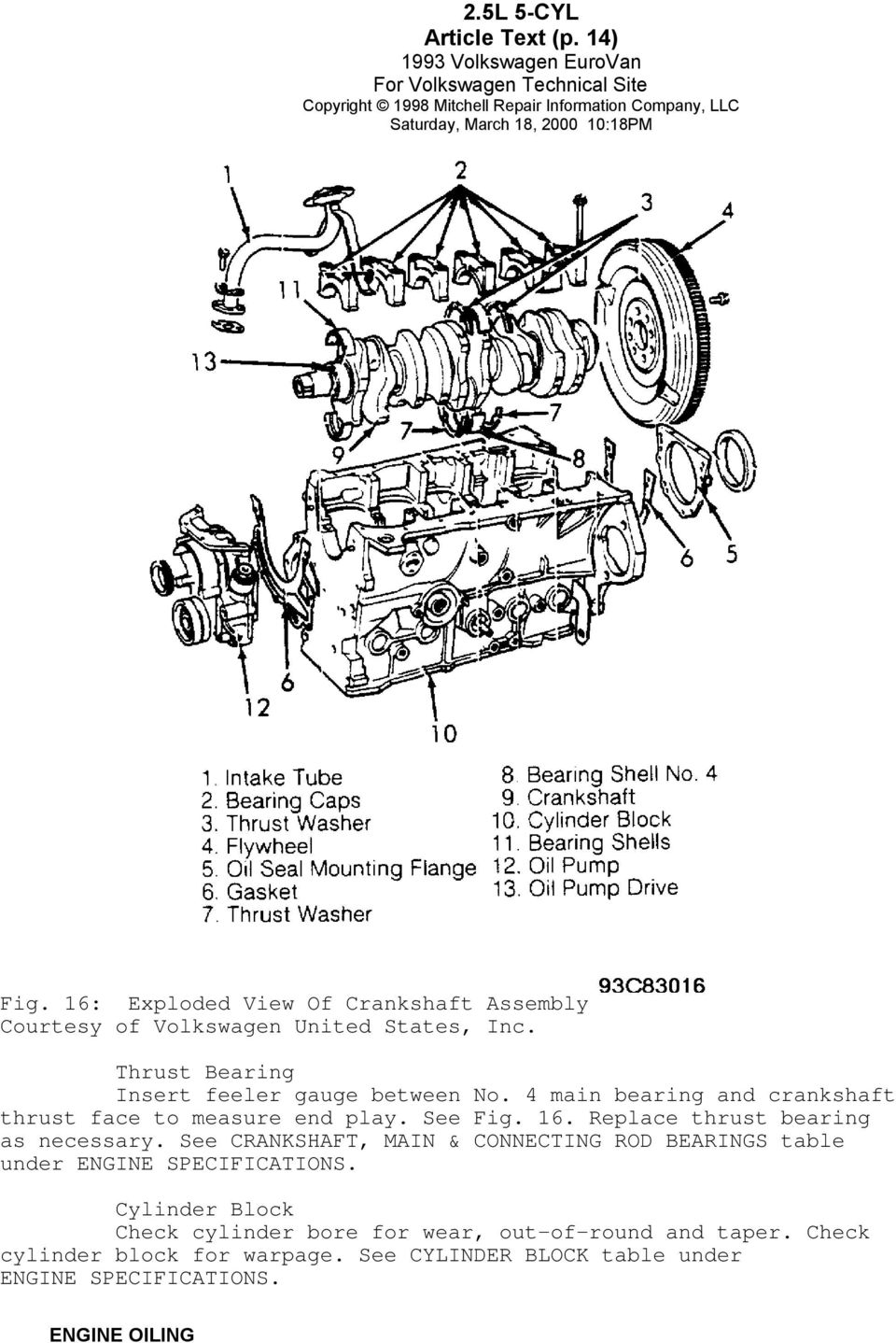 1993 Volkswagen Engines 25l 5 Cylinder Eurovan Pdf Pathfinder 3 5l Engine Diagram See Crankshaft Main Connecting Rod Bearings Table Under Specifications