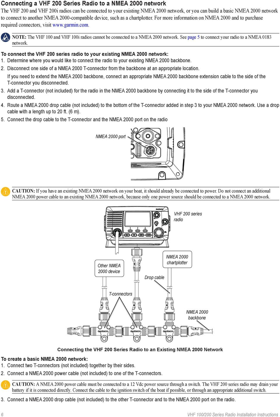 Vhf 100 200 Series Radio Installation Instructions Pdf Nmea 2000 T Connector Wiring Diagram See Page 5 To Connect Your A 0183 Network The
