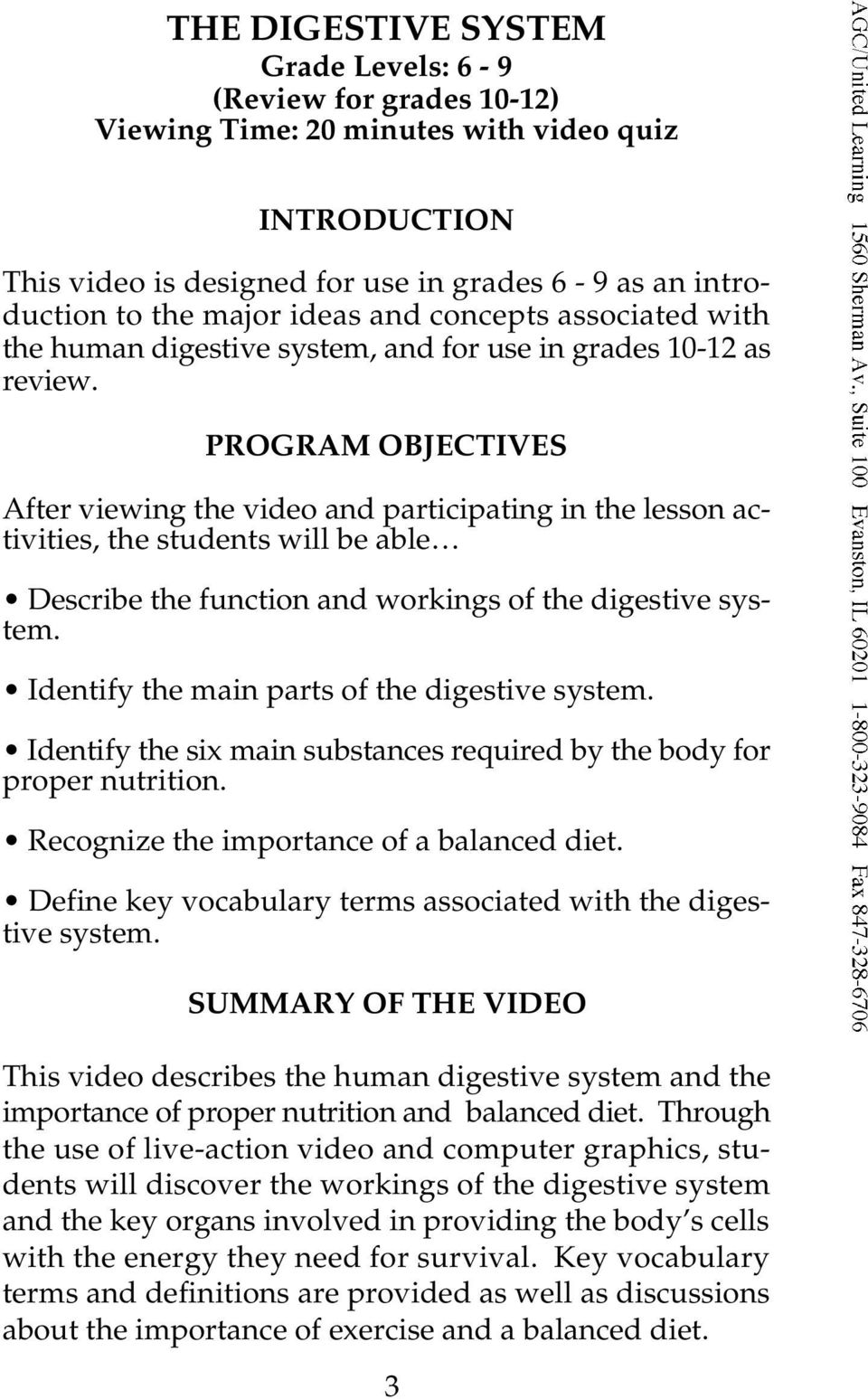 THE DIGESTIVE SYSTEM from The Human Body Systems Series - PDF