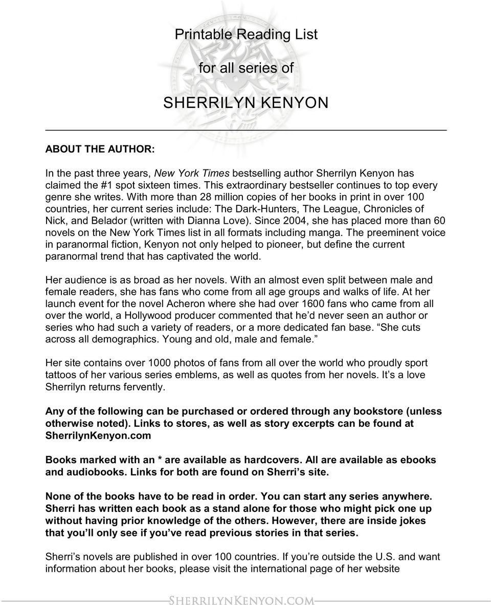 photo regarding Who Was Book Series Printable List identify Printable Looking through Listing. for all collection of SHERRILYN KENYON - PDF