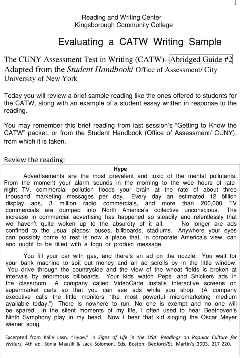 Evaluating a catw writing sample pdf