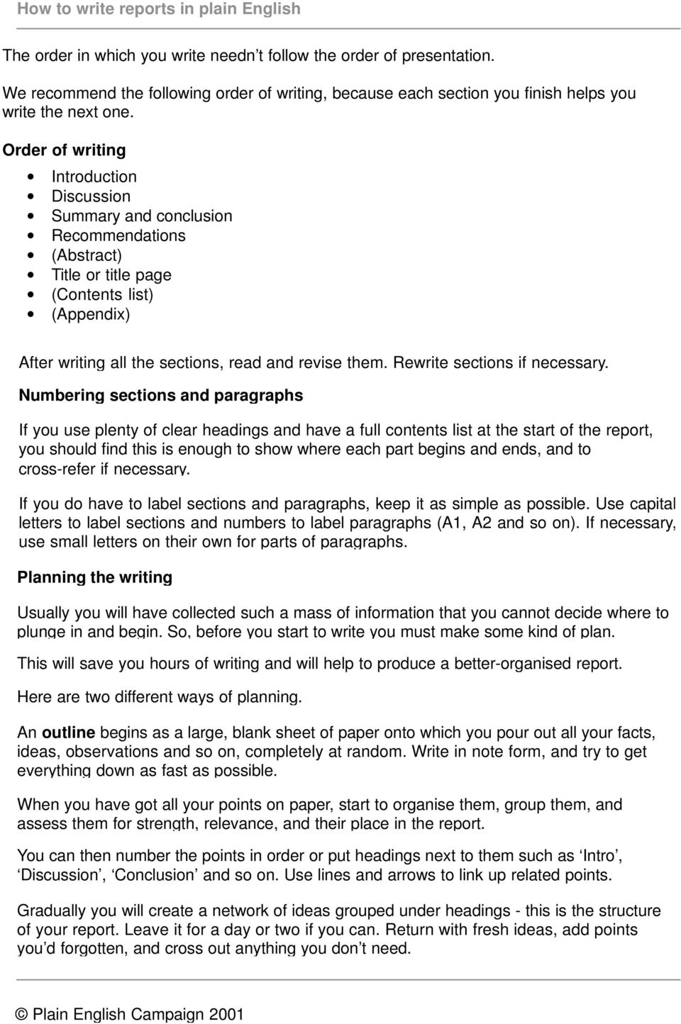 How to write reports in plain English  How to write reports in plain