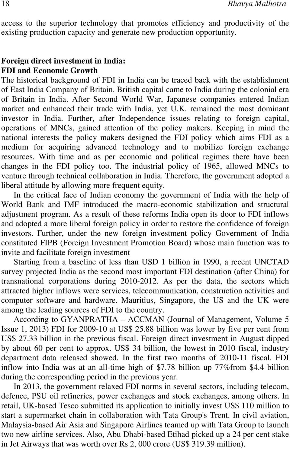 Foreign Direct Investment: Impact on Indian Economy - PDF