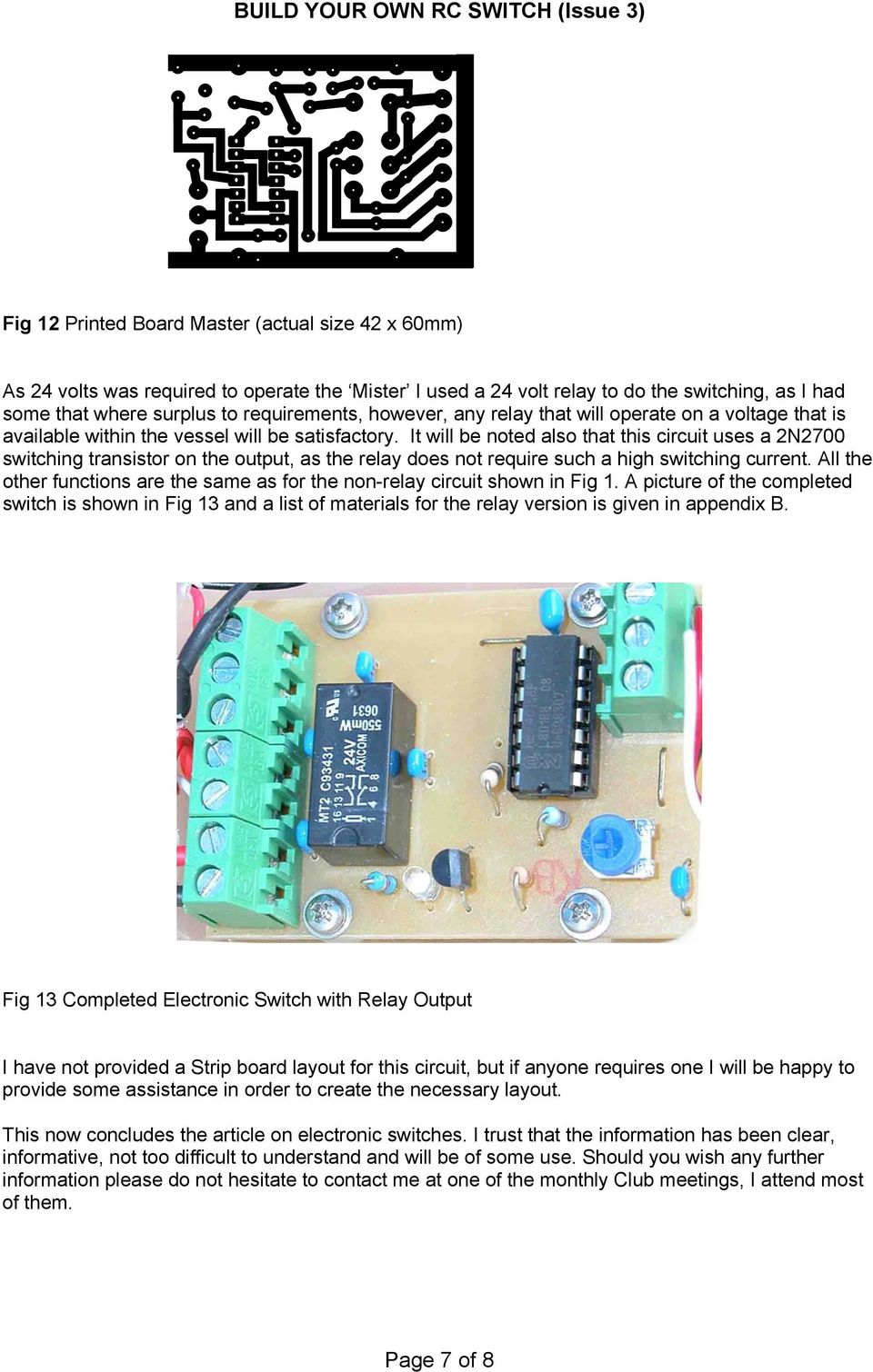 Build Your Own Rc Switch Issue 3 Pdf Relay Circuit With Transistor It Will Be Noted Also That This Uses A 2n2700 Switching On The Output