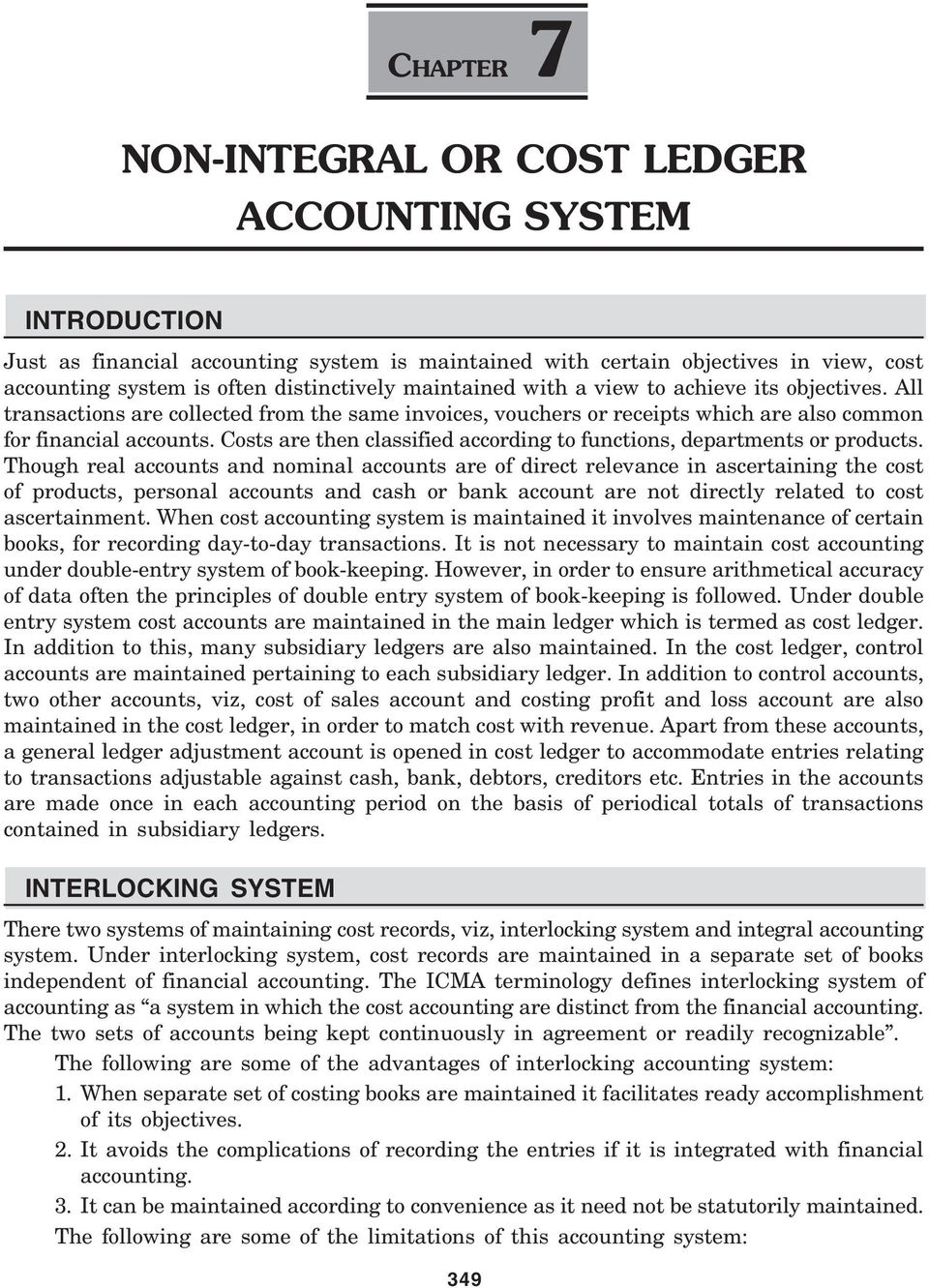 non integral or cost ledger accounting system pdf