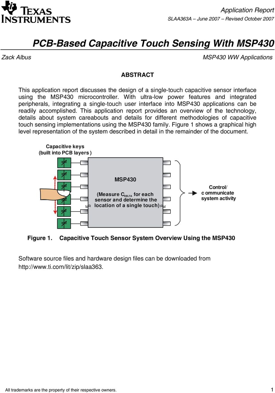 Pcb Based Capacitive Touch Sensing With Msp430 Pdf Low Side Switch Revisionb Ultra Power Features And Integrated Peripherals Integrating A Single User