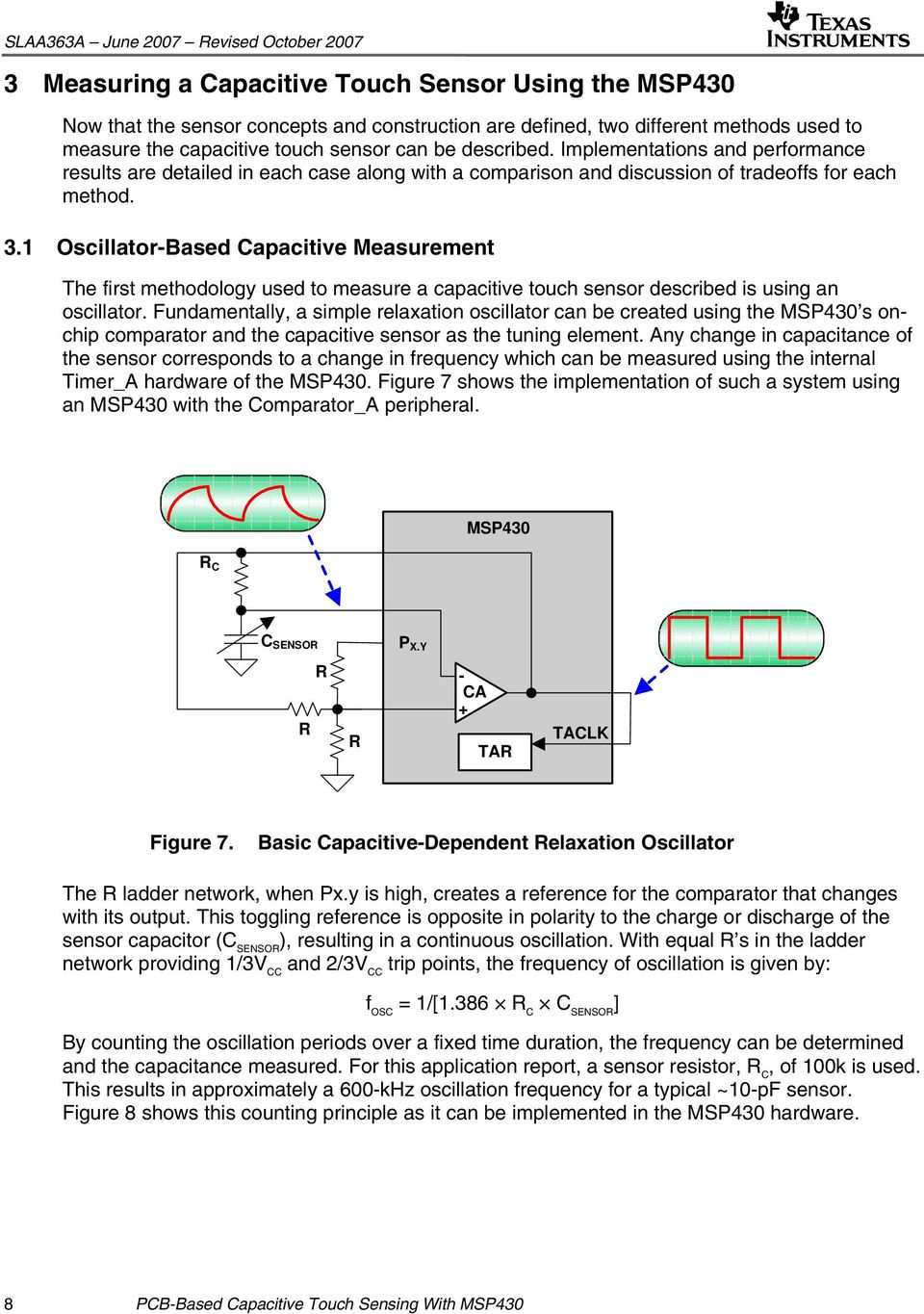 Pcb Based Capacitive Touch Sensing With Msp430 Pdf How To Build Simple Sensor Circuit Diagram 1 Oscillator Measurement The First Methodology Used Measure A