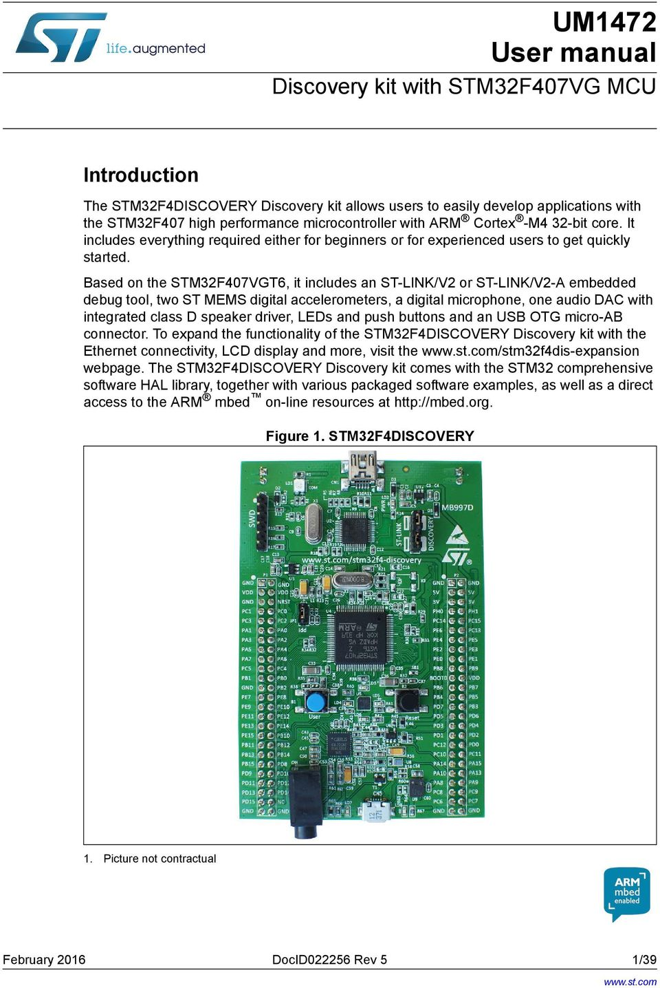UM1472 User manual  Discovery kit with STM32F407VG MCU  Introduction