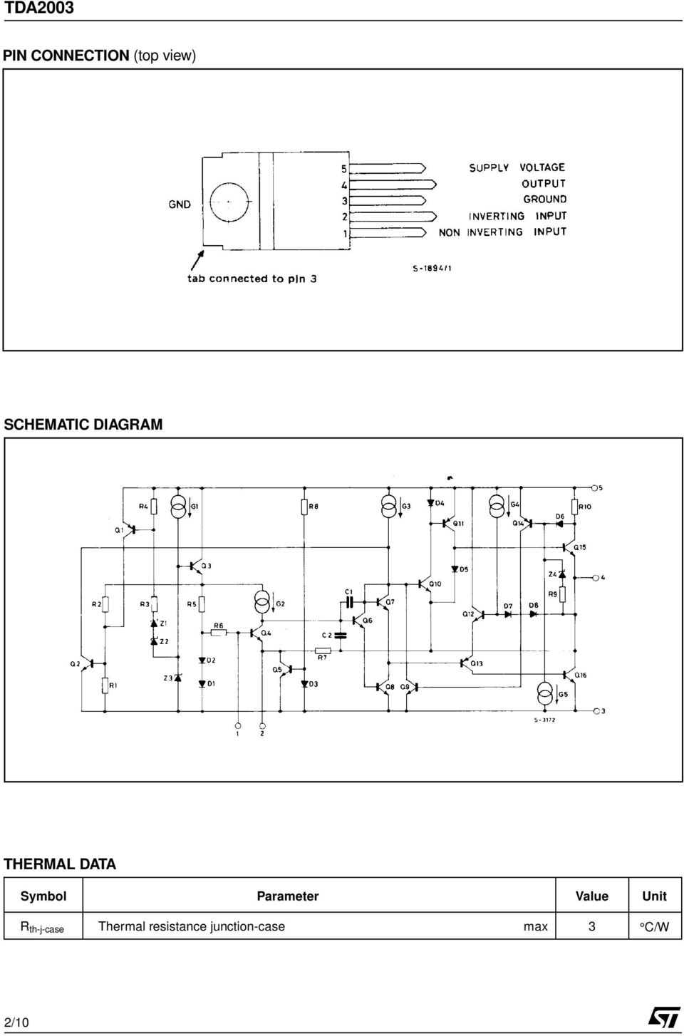 Tda W Car Radio Audio Amplifier Pdf And Cheap Systems 32w Hi Fi Circuit Diagram Parameter Value Unit R Th J Case