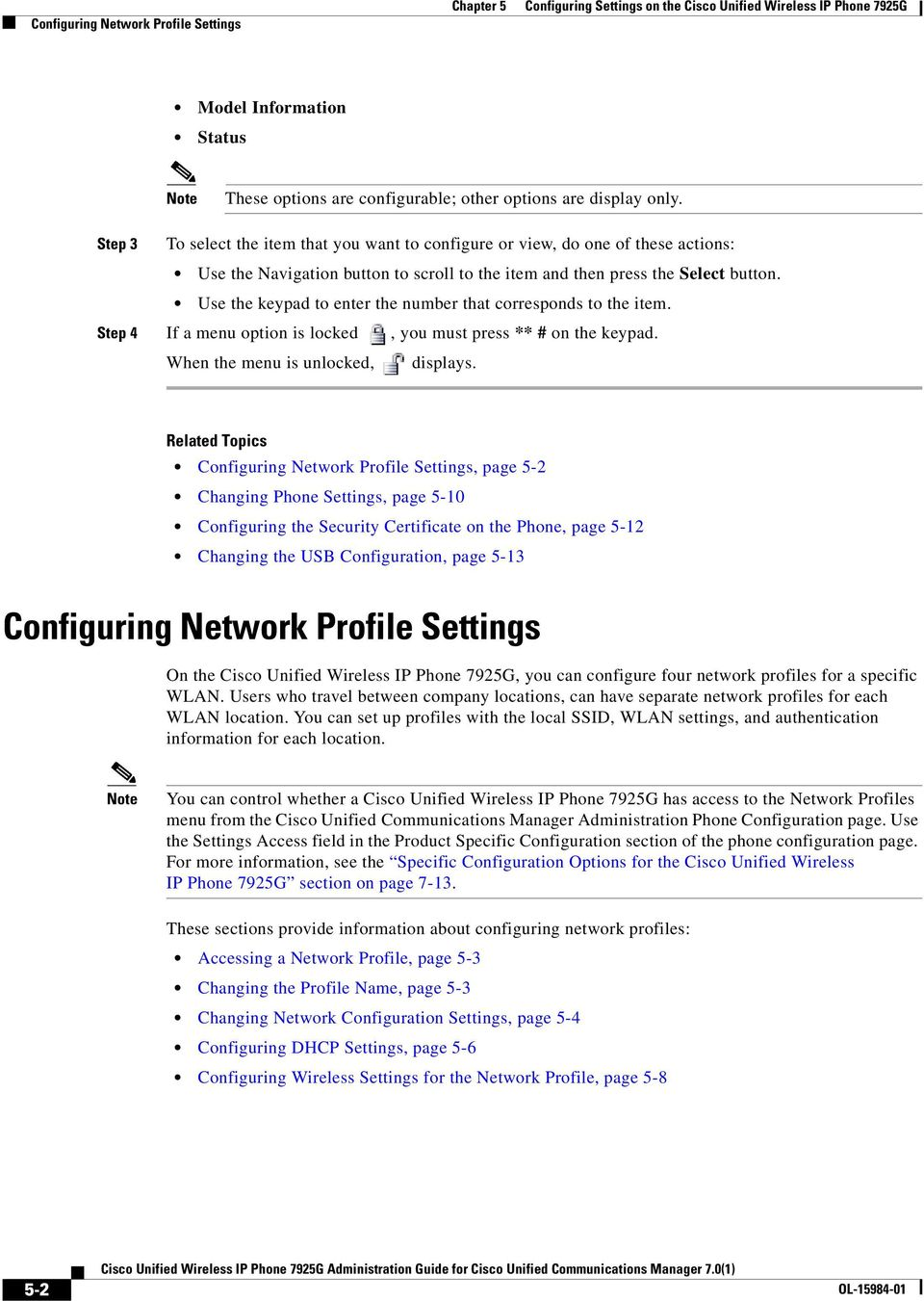 Configuring Settings on the Cisco Unified Wireless IP Phone