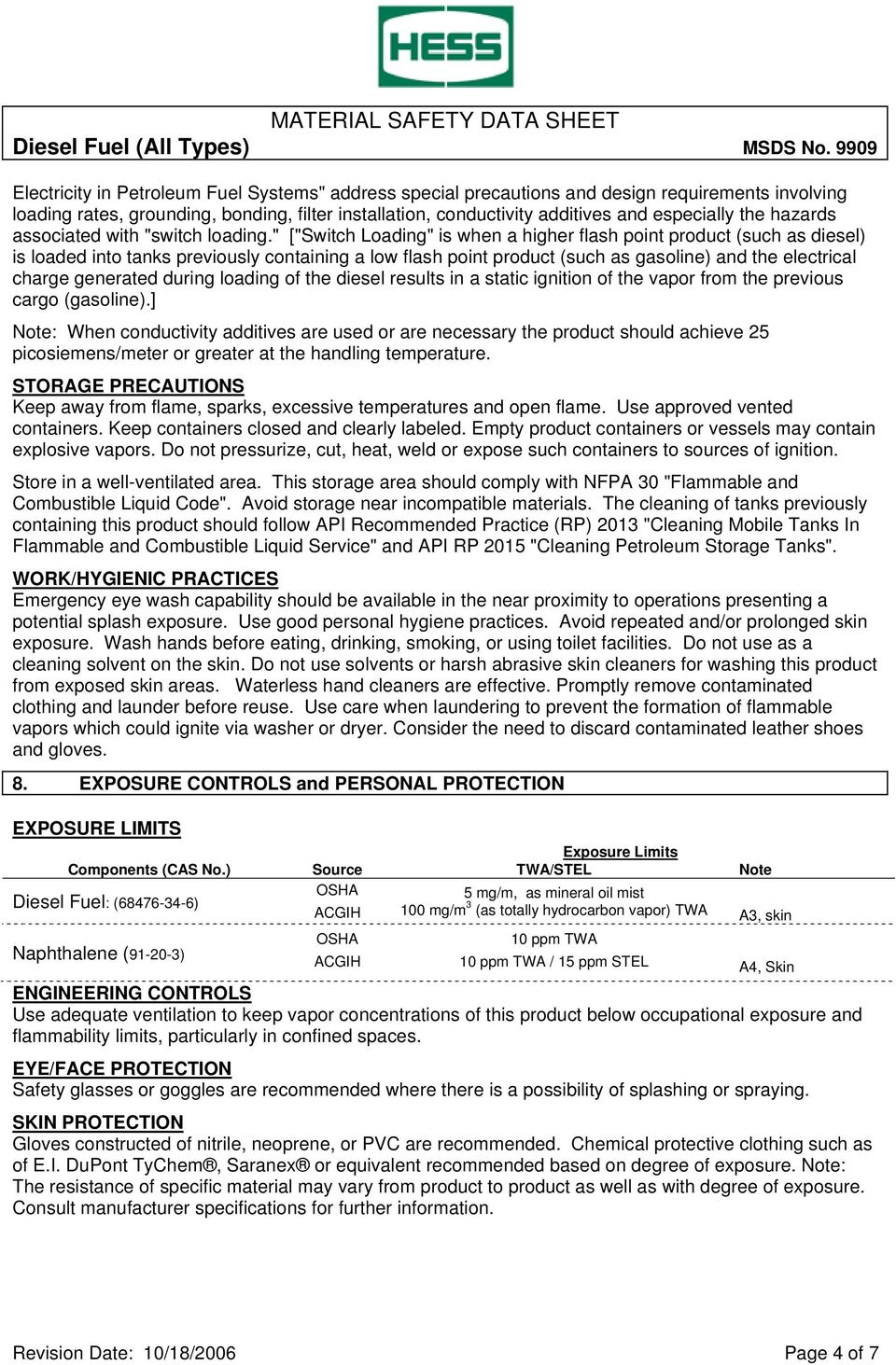MATERIAL SAFETY DATA SHEET Diesel Fuel (All Types) MSDS No PDF