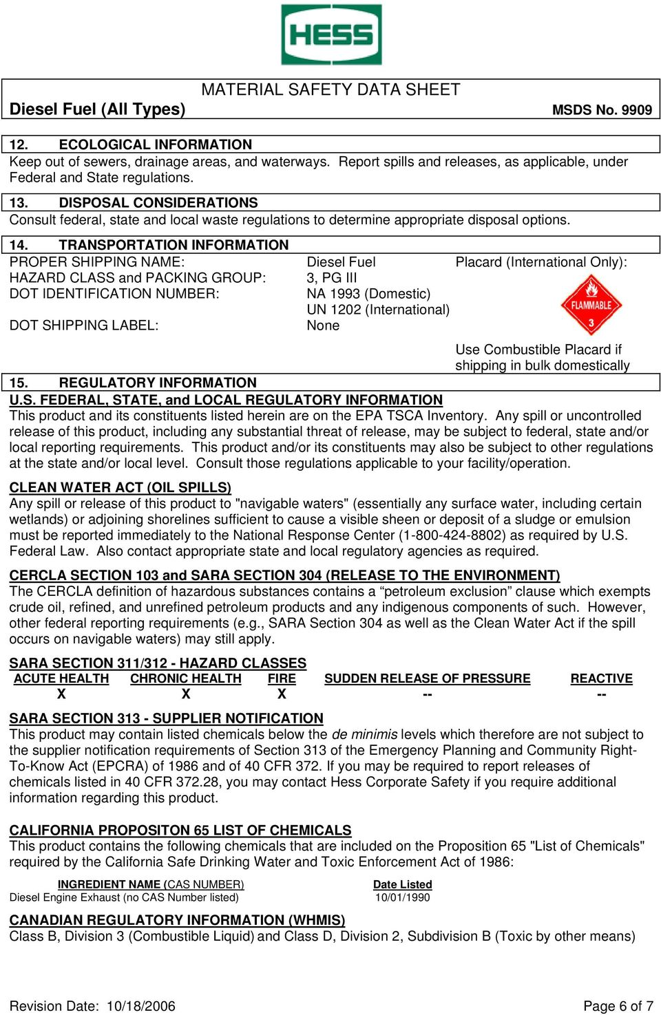 Material Safety Data Sheet Diesel Fuel All Types Msds No Pdf Free Download