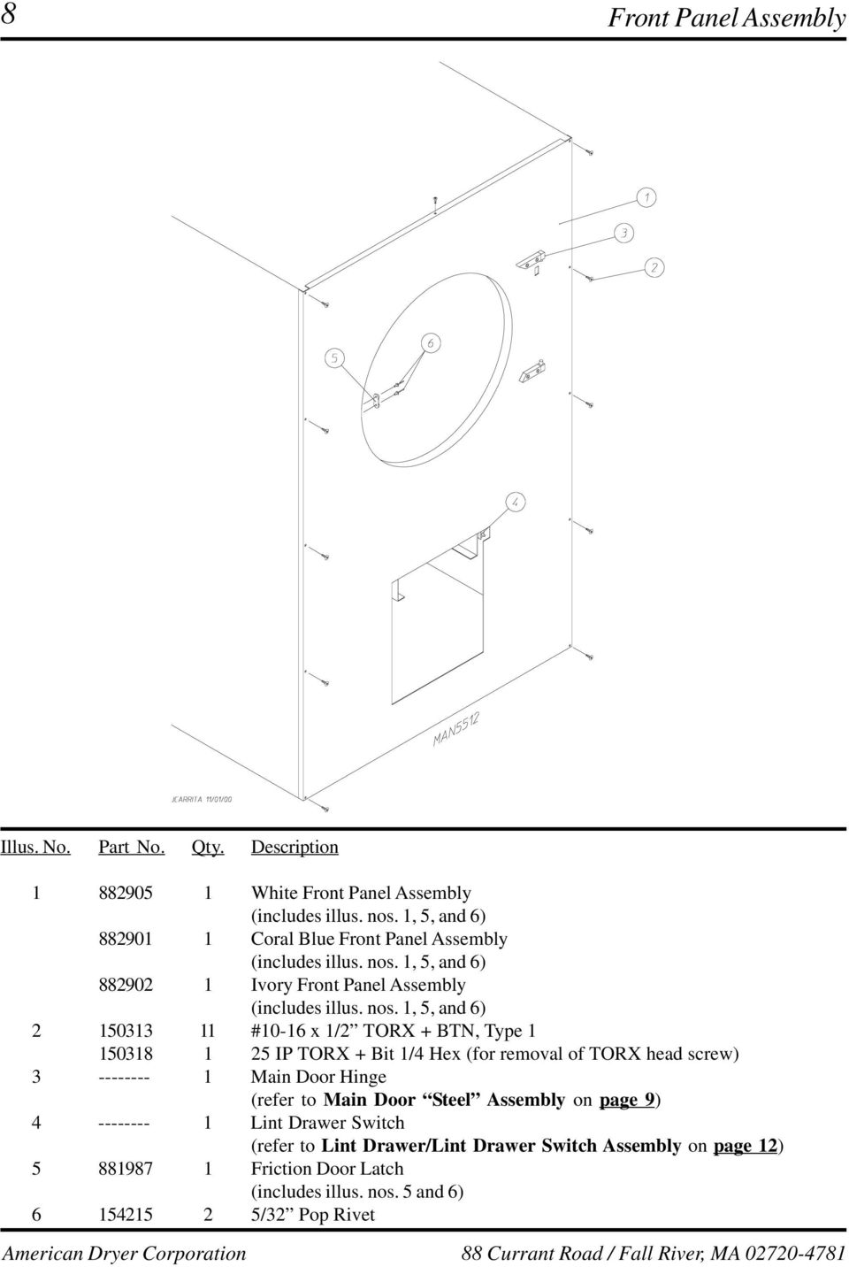 Ad 75v 758v Parts Manual Pdf Panel Lint Filter 04controls Top 05motor 06wiring Diagram Main Door Steel Assembly On Page 9 4