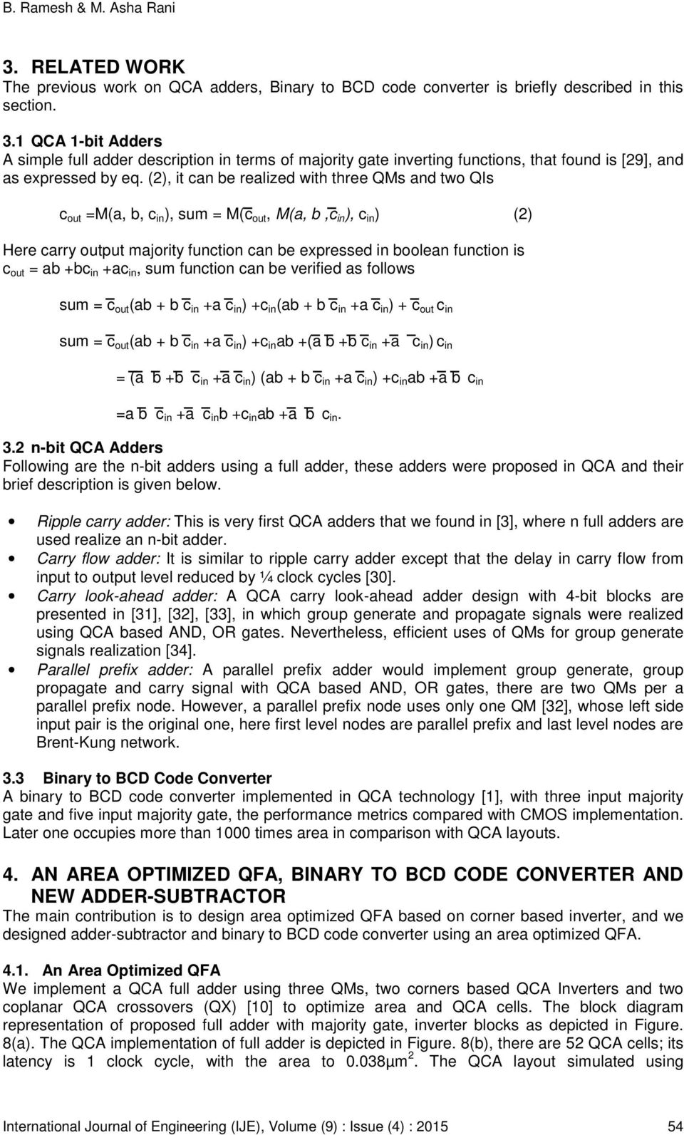 Design Of Binary To Bcd Code Converter Using Area Optimized Quantum Figure1 1 Bit Adder 2 It Can Be Realized With Three Qms And Two Qis C Out