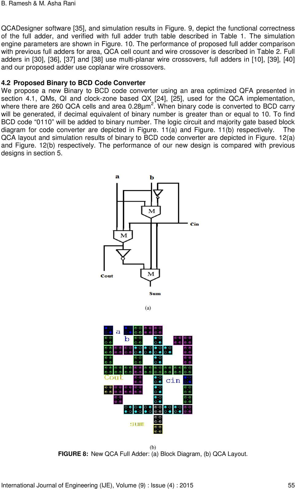 Design Of Binary To Bcd Code Converter Using Area Optimized Quantum Integrated Circuit 1bit Full Adder Cell In Ic Not Working As The Performance Proposed Comparison With Previous Adders For Qca