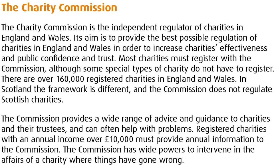 Most charities must register with the Commission, although some special types of charity do not have to register. There are over 160,000 registered charities in England and Wales.