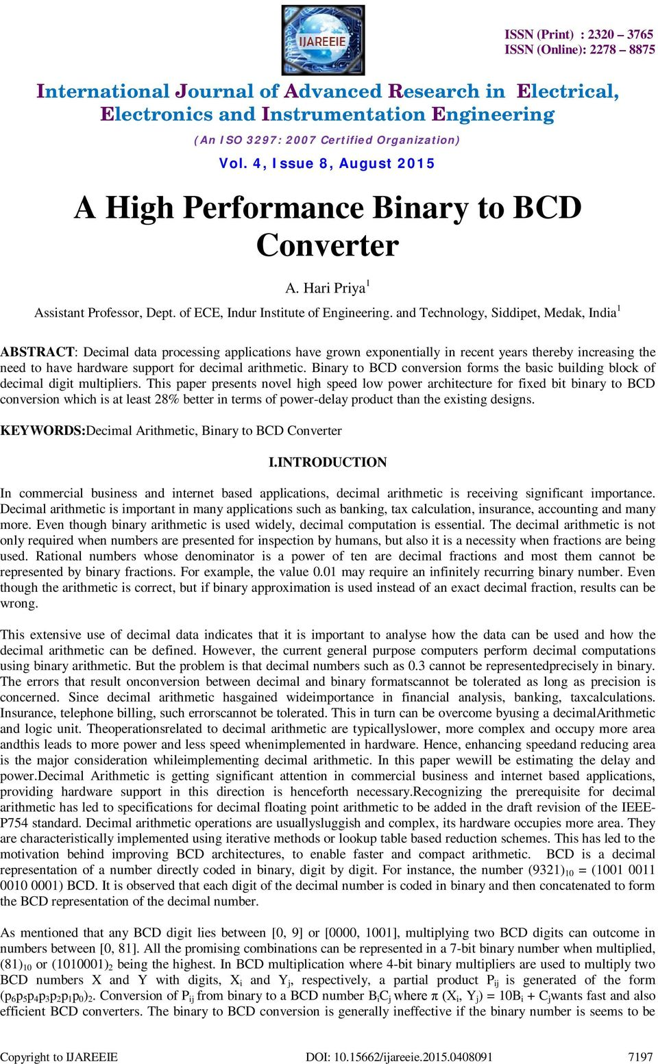 A High Performance Binary to BCD Converter - PDF