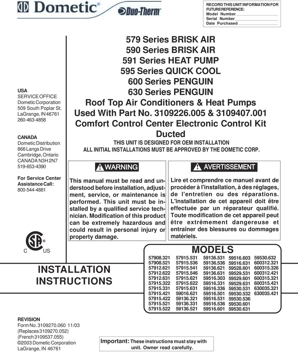 Installation Instructions Ducted Ccc Pdf Duo Therm Comfort Control Thermostat Wiring Diagram Transcription