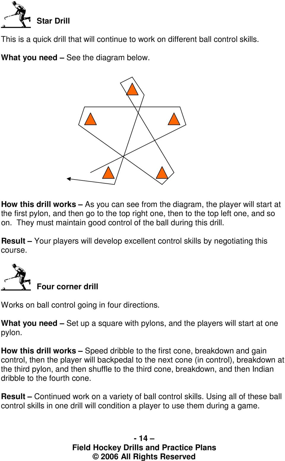 They must maintain good of the ball during this drill. Result Your players will develop excellent skills by negotiating this course. Four corner drill Works on ball going in four directions.