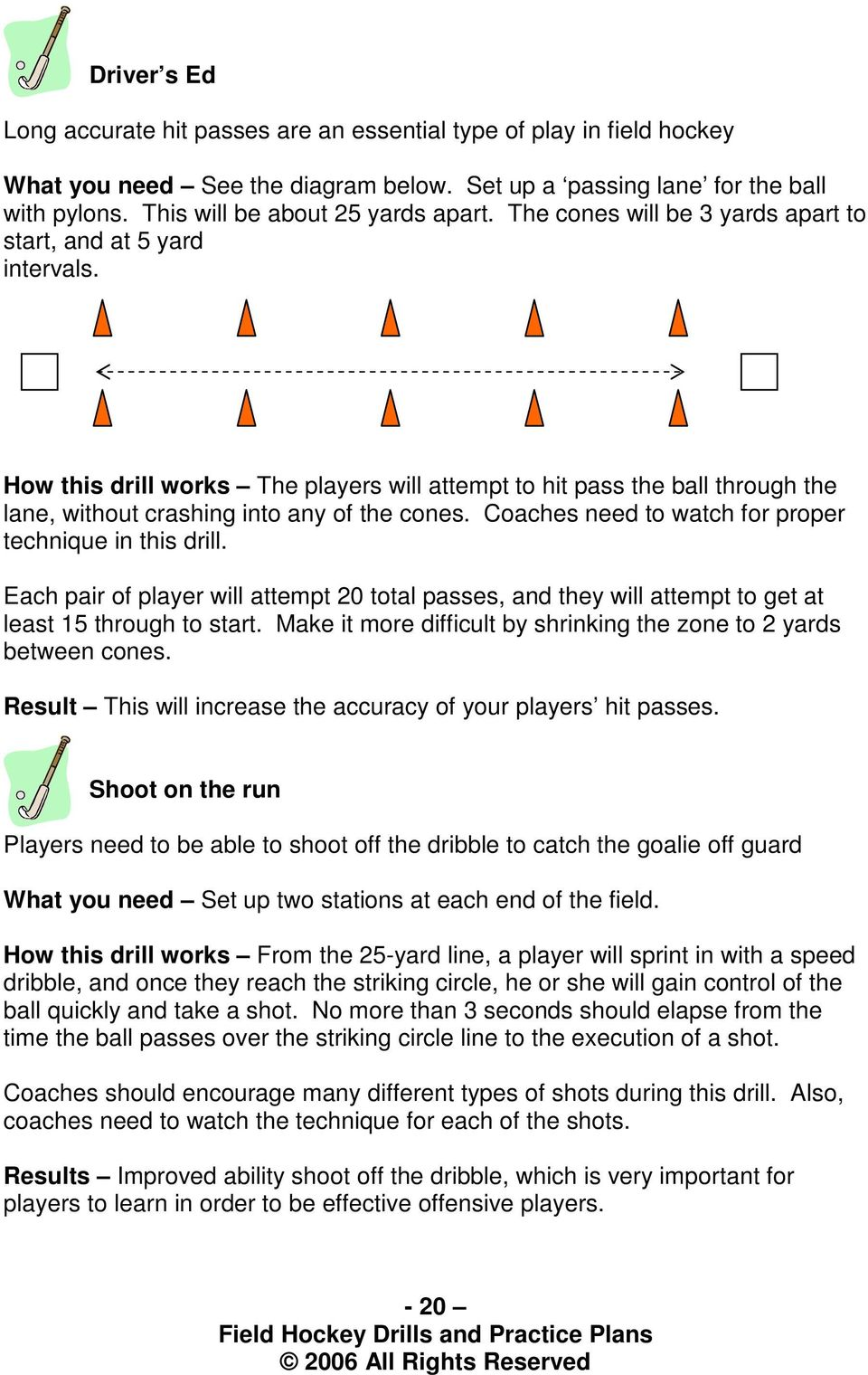 How this drill works The players will attempt to hit pass the ball through the lane, without crashing into any of the cones. Coaches need to watch for proper technique in this drill.