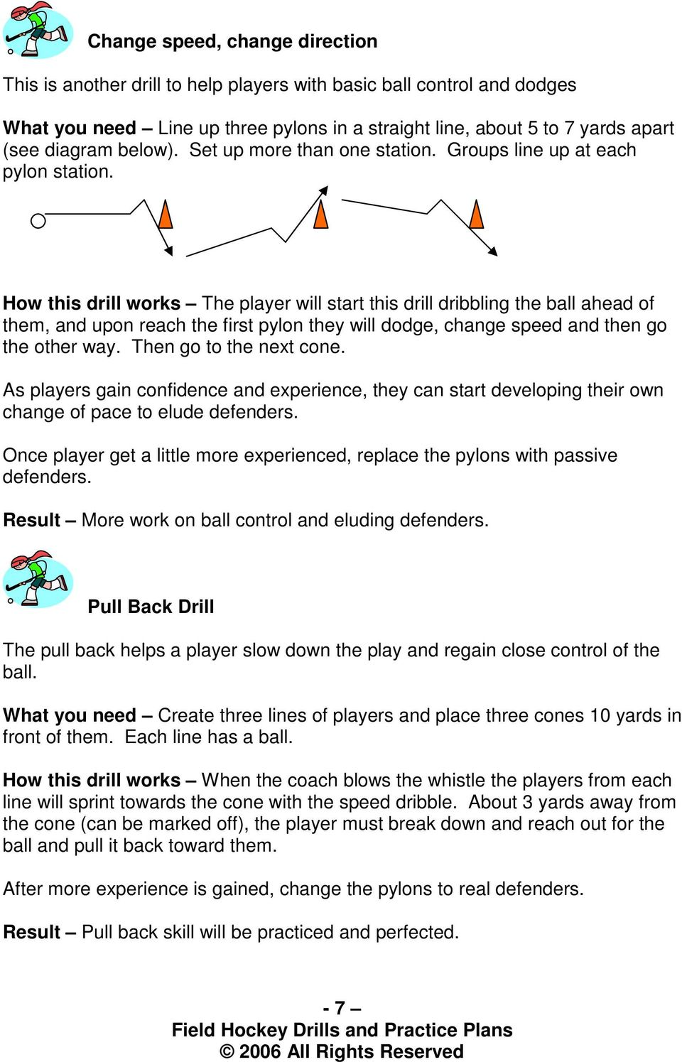How this drill works The player will start this drill dribbling the ball ahead of them, and upon reach the first pylon they will dodge, change speed and then go the other way.