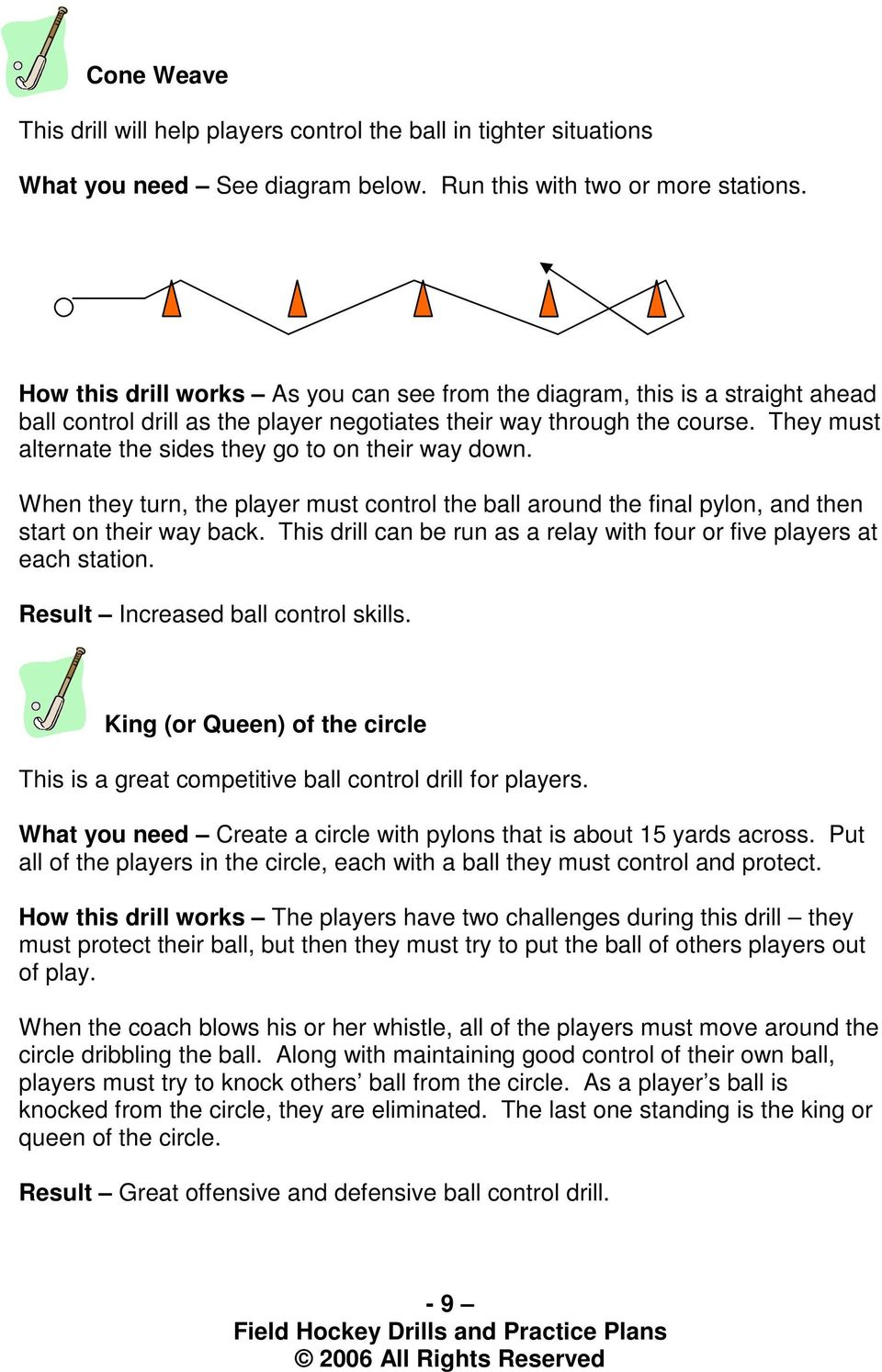 They must alternate the sides they go to on their way down. When they turn, the player must the ball around the final pylon, and then start on their way back.