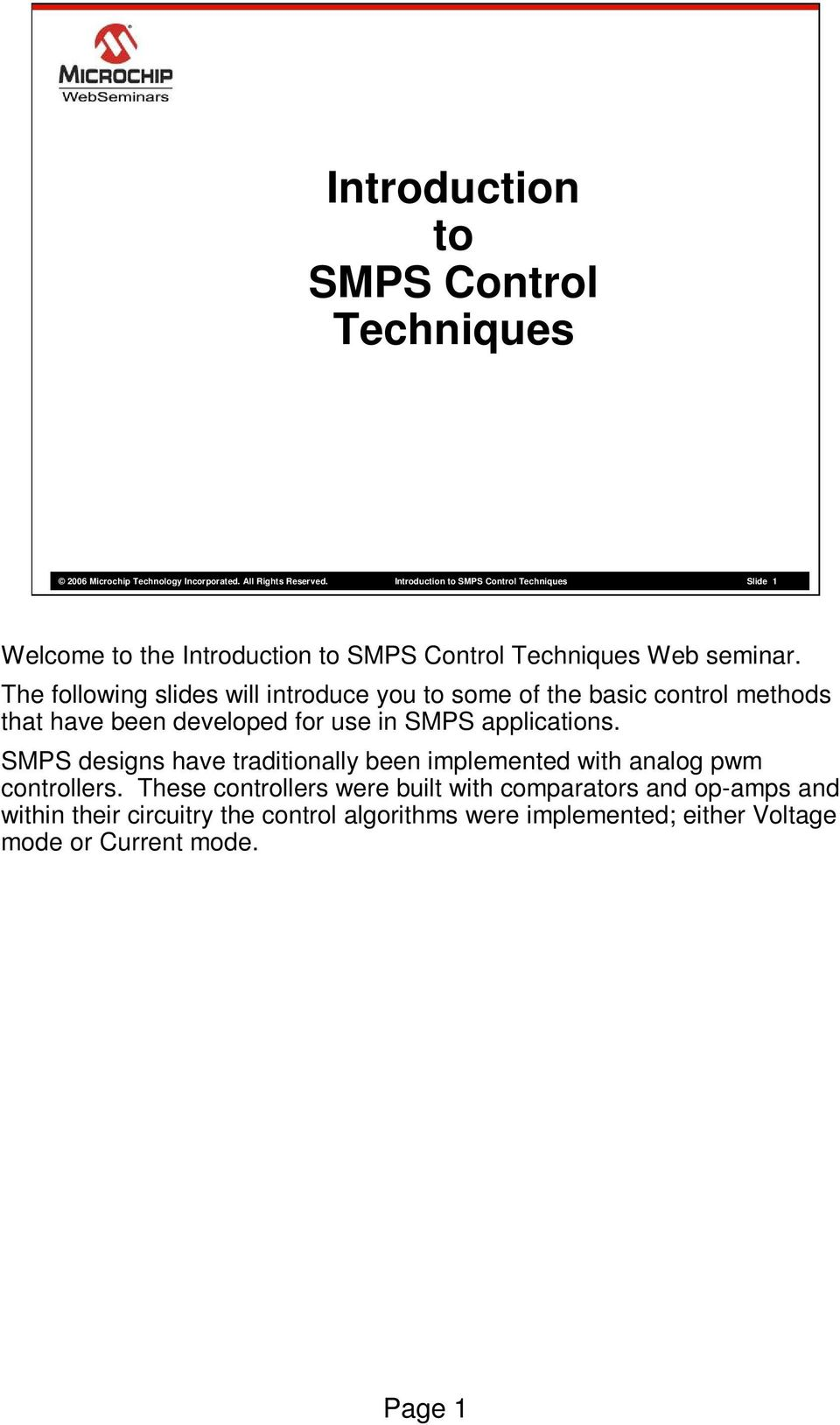 Introduction to SMPS Control Techniques - PDF
