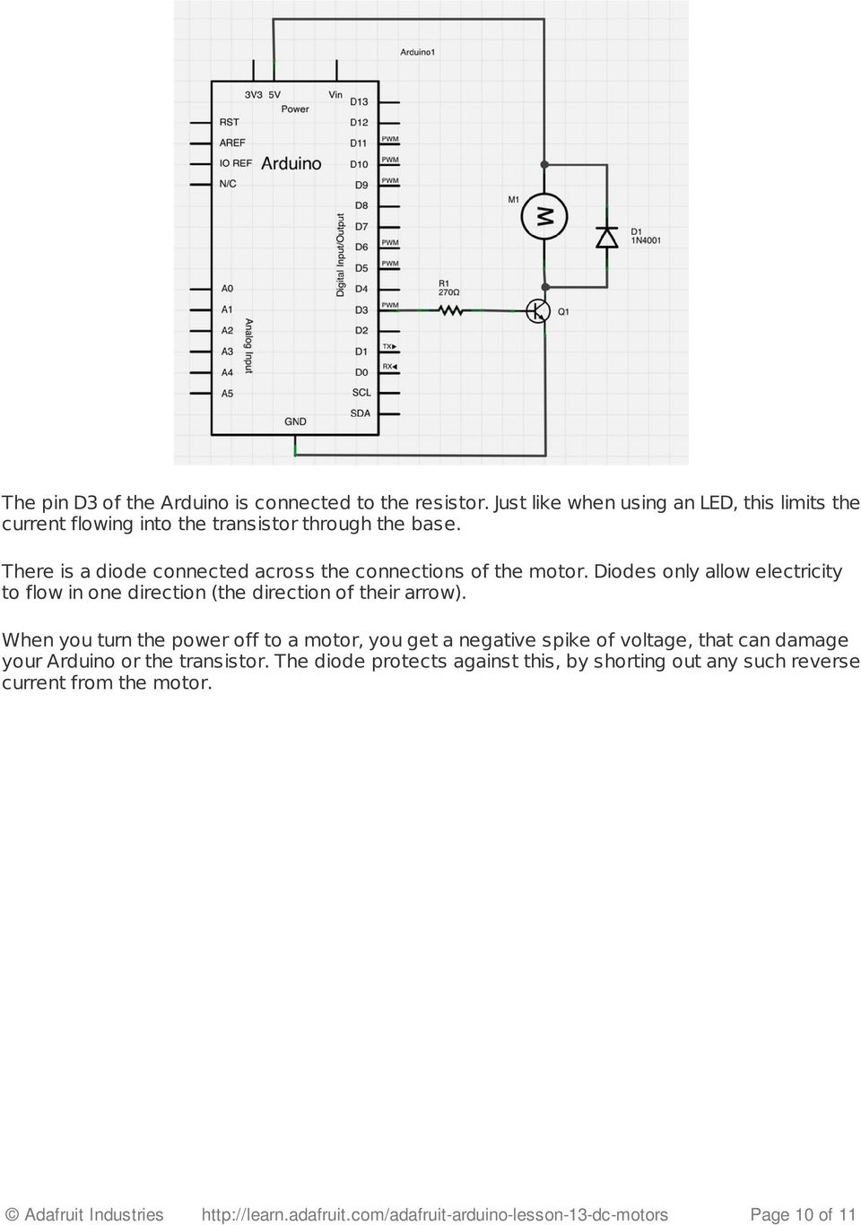 Arduino Lesson 13  DC Motors  Created by Simon Monk - PDF