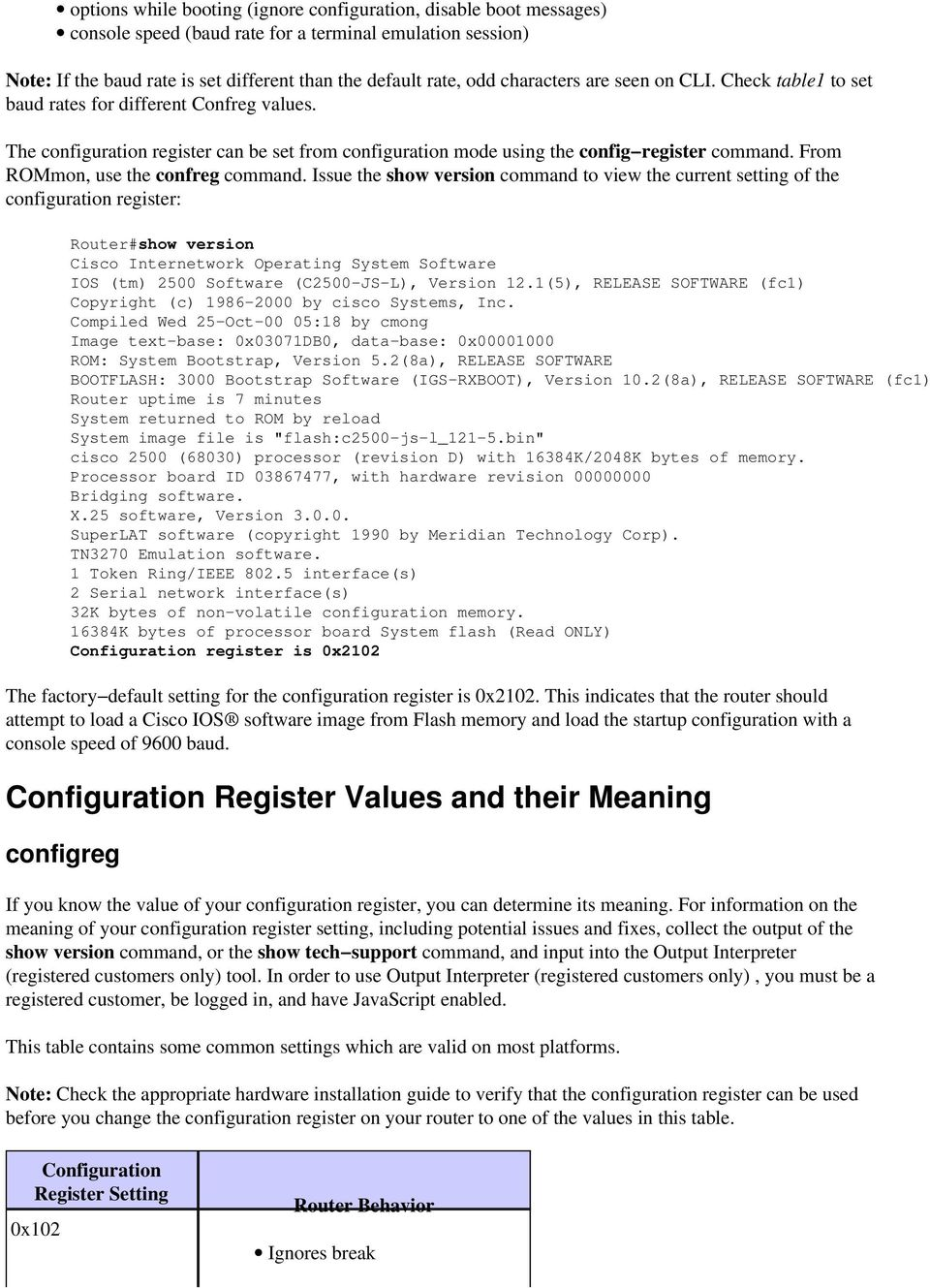 The Purpose and Use of the Configuration Register on All