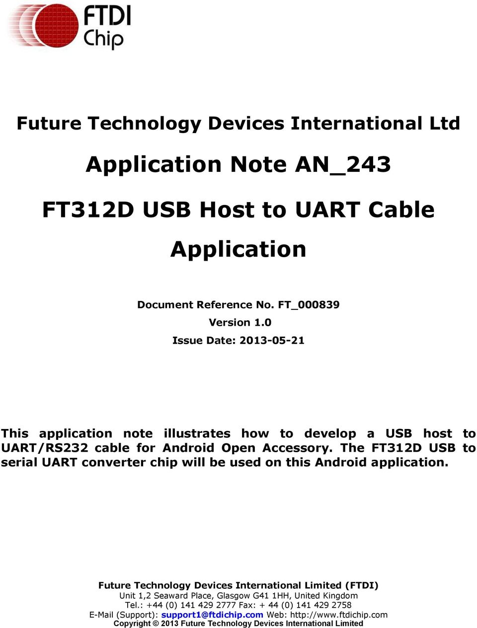 Application Note AN_243  FT312D USB Host to UART Cable