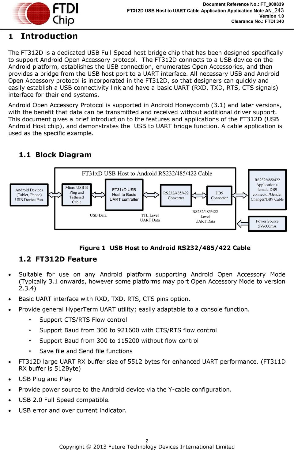 Application Note An 243 Ft312d Usb Host To Uart Cable Pdf Ftdi Schematic All Necessary And Android Open Accessory Protocol Is Incorporated In The So That