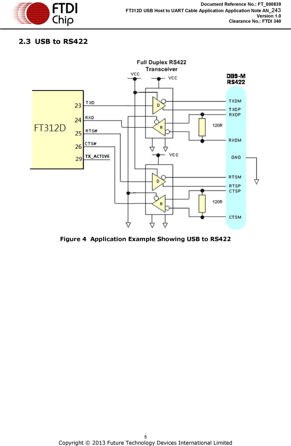 Application Note An 243 Ft312d Usb Host To Uart Cable Pdf Ftdi Serial Wiring Diagram 7 3 Reference Schematic Figure 5 Rs232 6