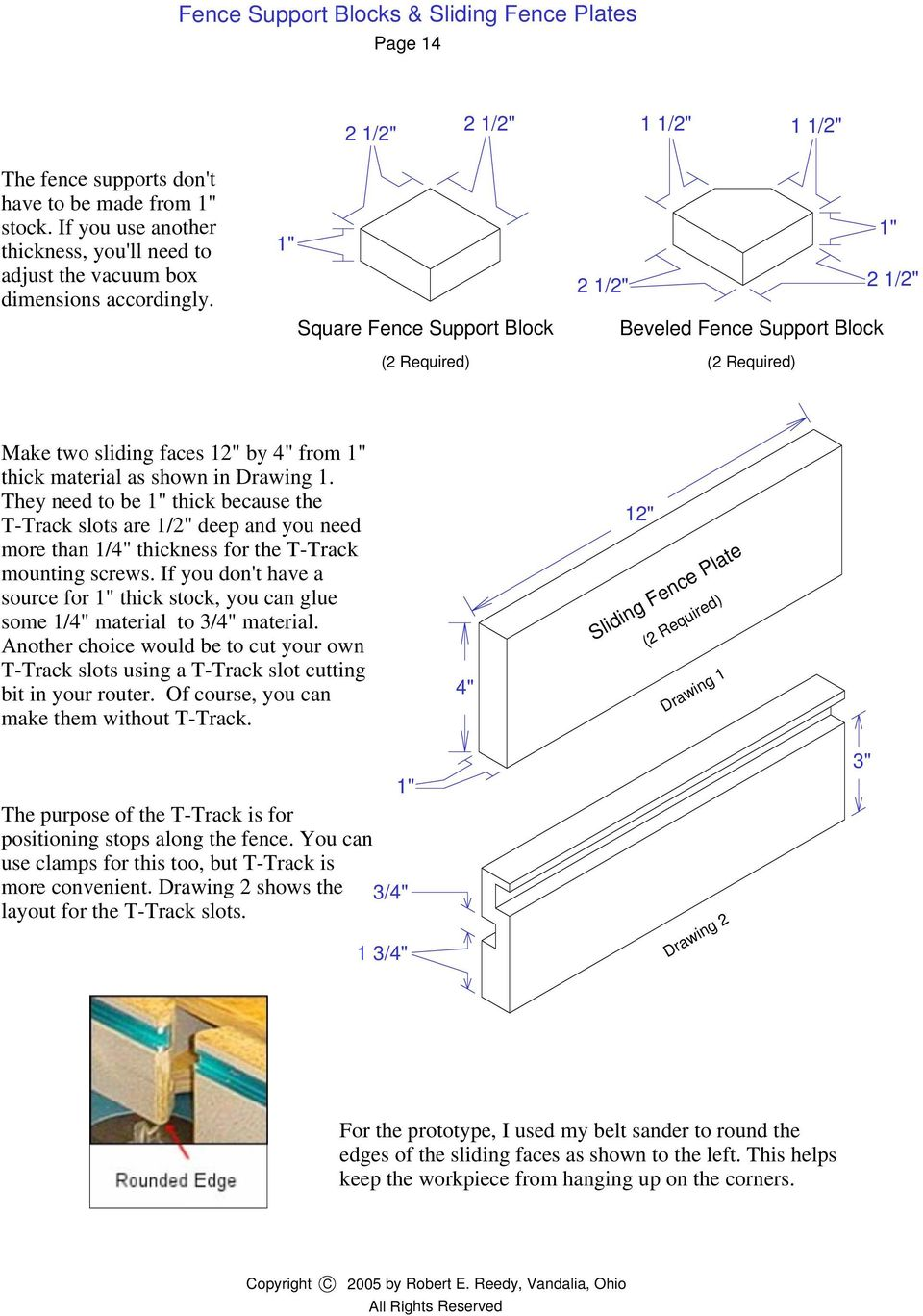 "1"" Square Fence Support Block (2 Required) 1"" 2 1/ 2 1/ Beveled Fence Support Block (2 Required) Make two sliding faces 1 by 4"" from 1"" thick material as shown in Drawing 1."