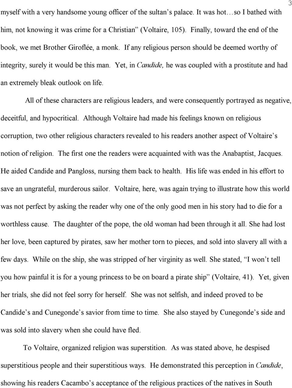 candide essay on religion