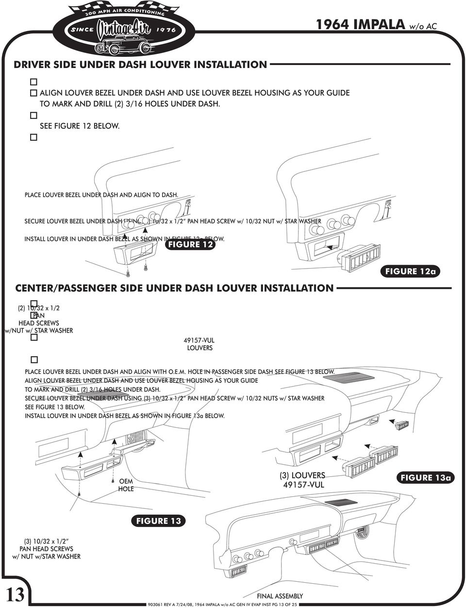 1964 Chevy Impala Pdf A C Compressor Relay Wiring Diagram Pot Secure Louver Bezel Under Dash Using 2 10 32 X 1