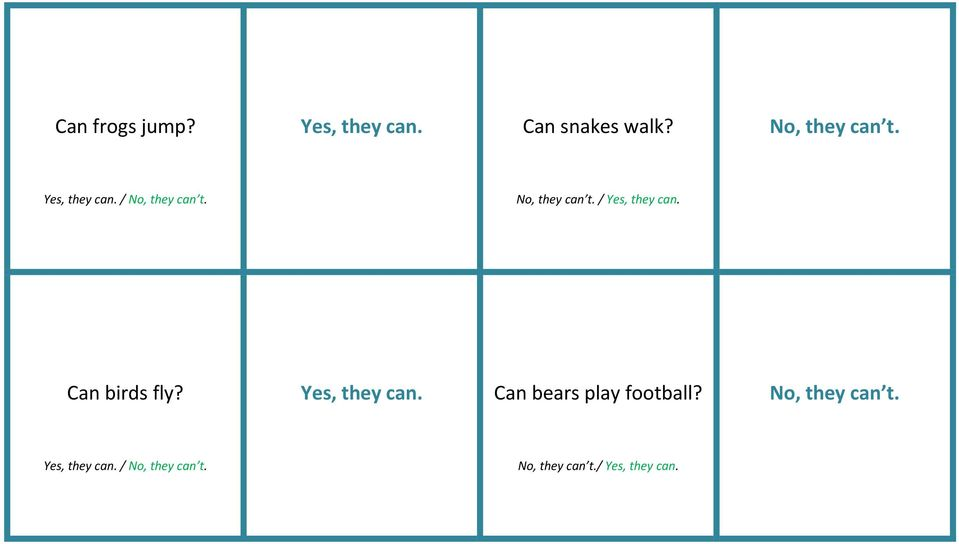 Can birds fly? Yes, they can. Can bears play football?