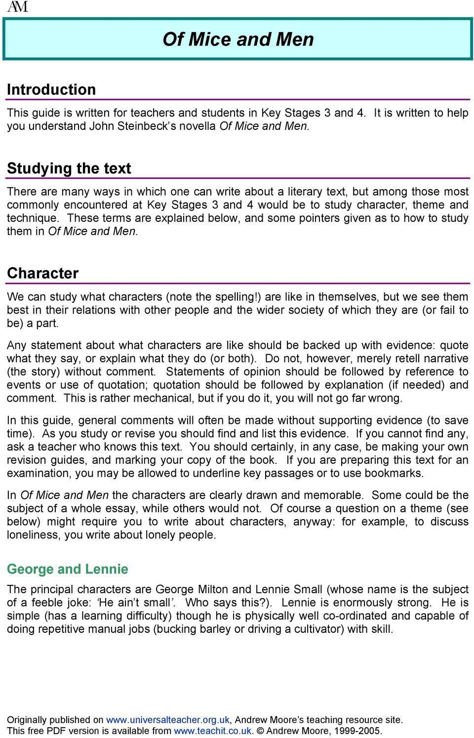 Of Mice And Men Introduction Studying The Text Character George  These Terms Are Explained Below And Some Pointers Given As To How To Study  Them