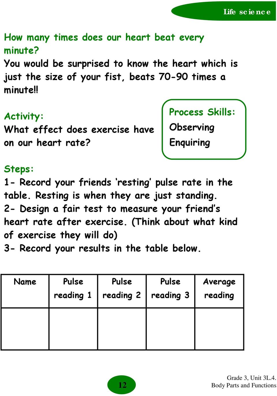 ! Activity: What effect does exercise have on our heart rate?