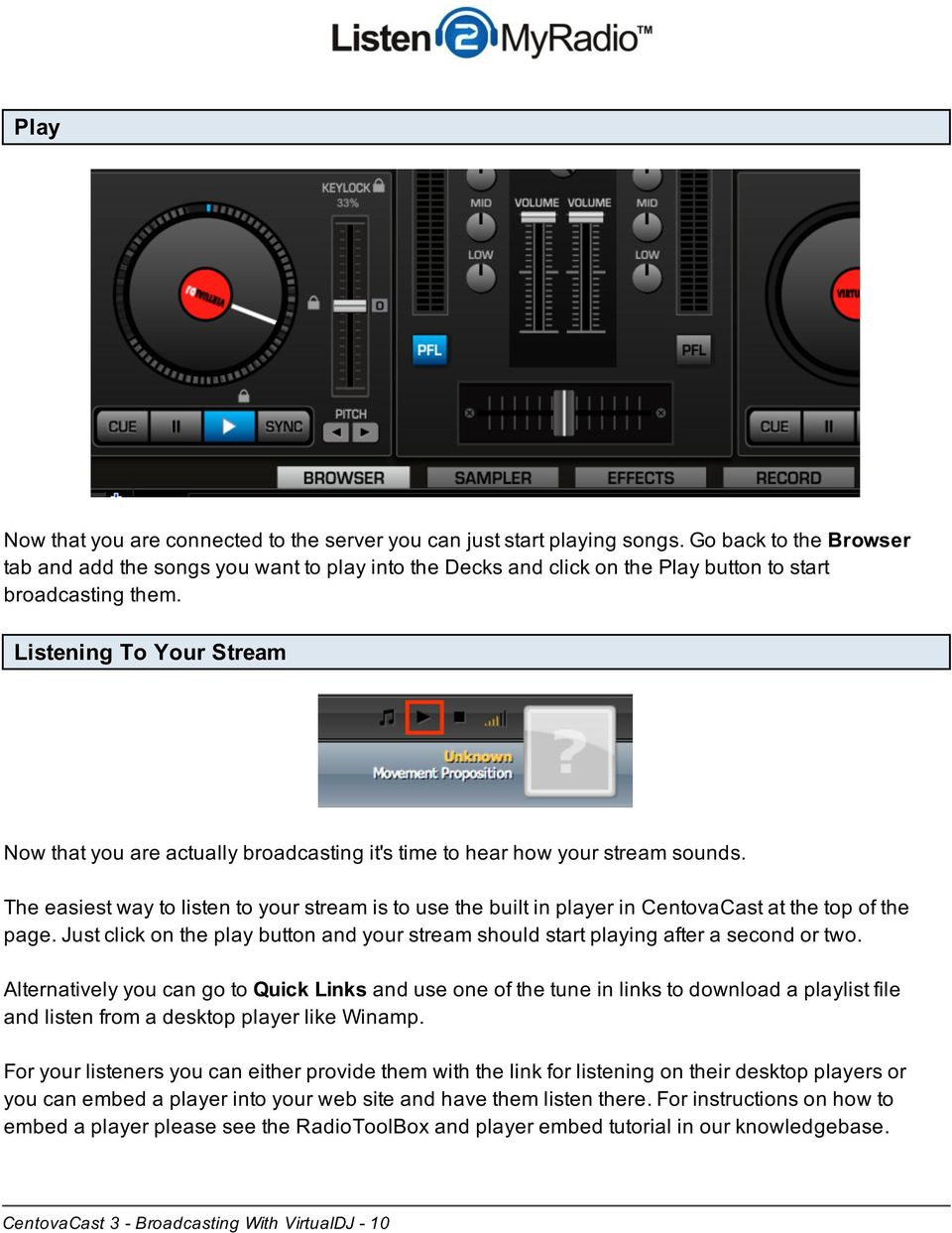 CentovaCast 3 - Broadcasting With VirtualDJ - PDF