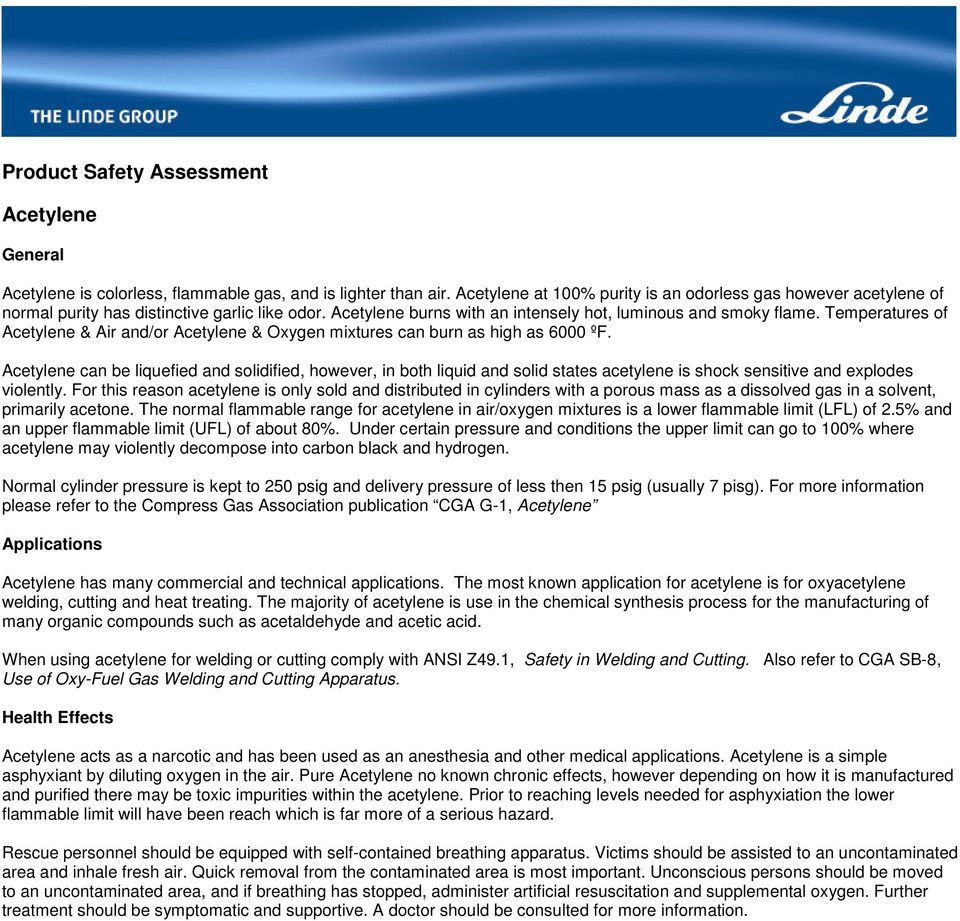 Product Safety Assessment  Acetylene  General - PDF