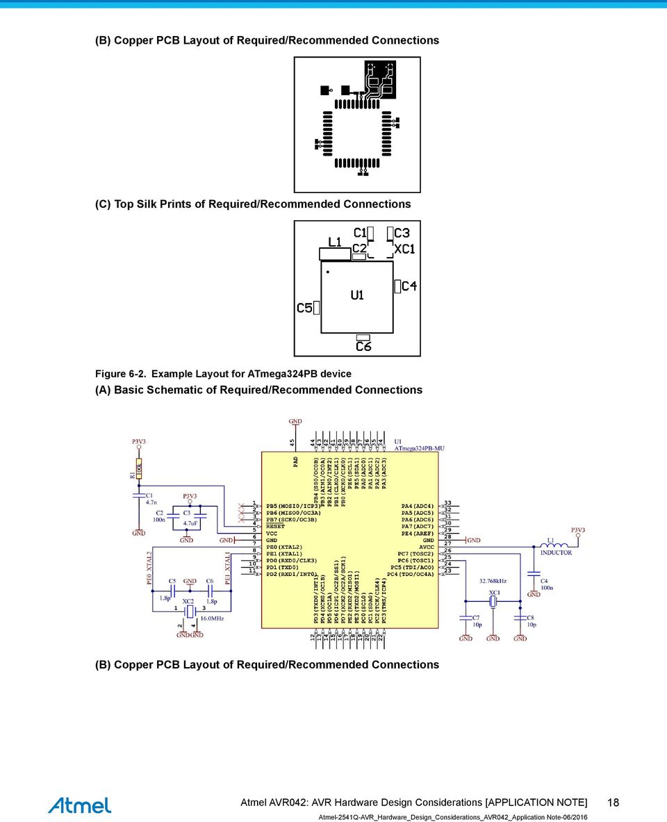 Avr042 Avr Hardware Design Considerations Introduction Features Atmel Isp Circuit Schematic Example Layout For Atmega324pb Device A Basic Of