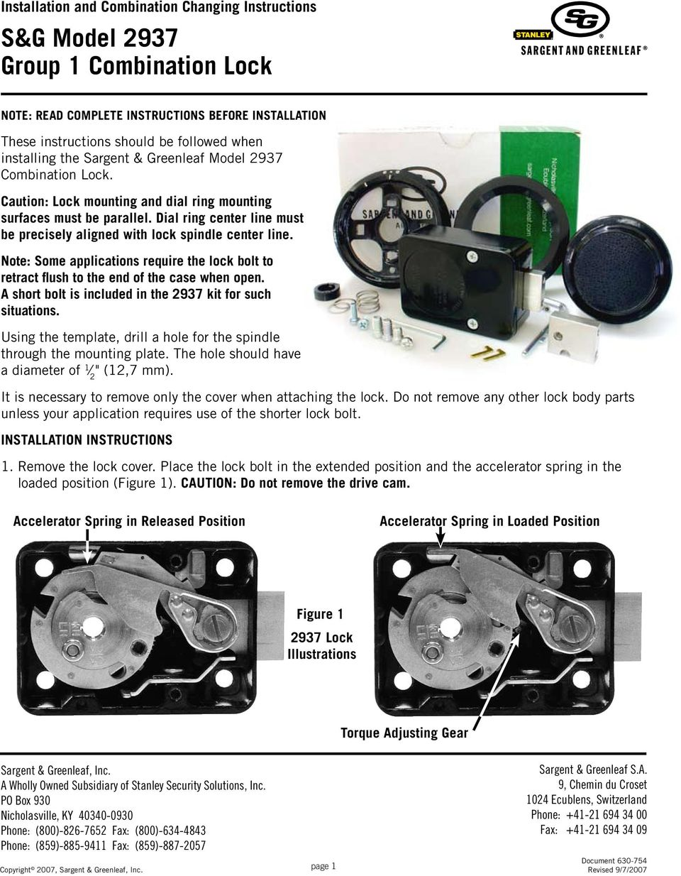 Sg Model 2937 Group 1 Combination Lock Pdf Diagram Dial Ring Center Line Must Be Precisely Aligned With Spindle Note