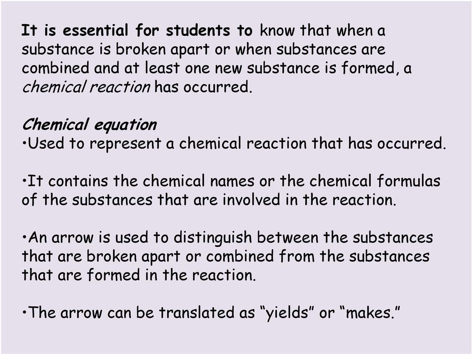 It contains the chemical names or the chemical formulas of the substances that are involved in the reaction.
