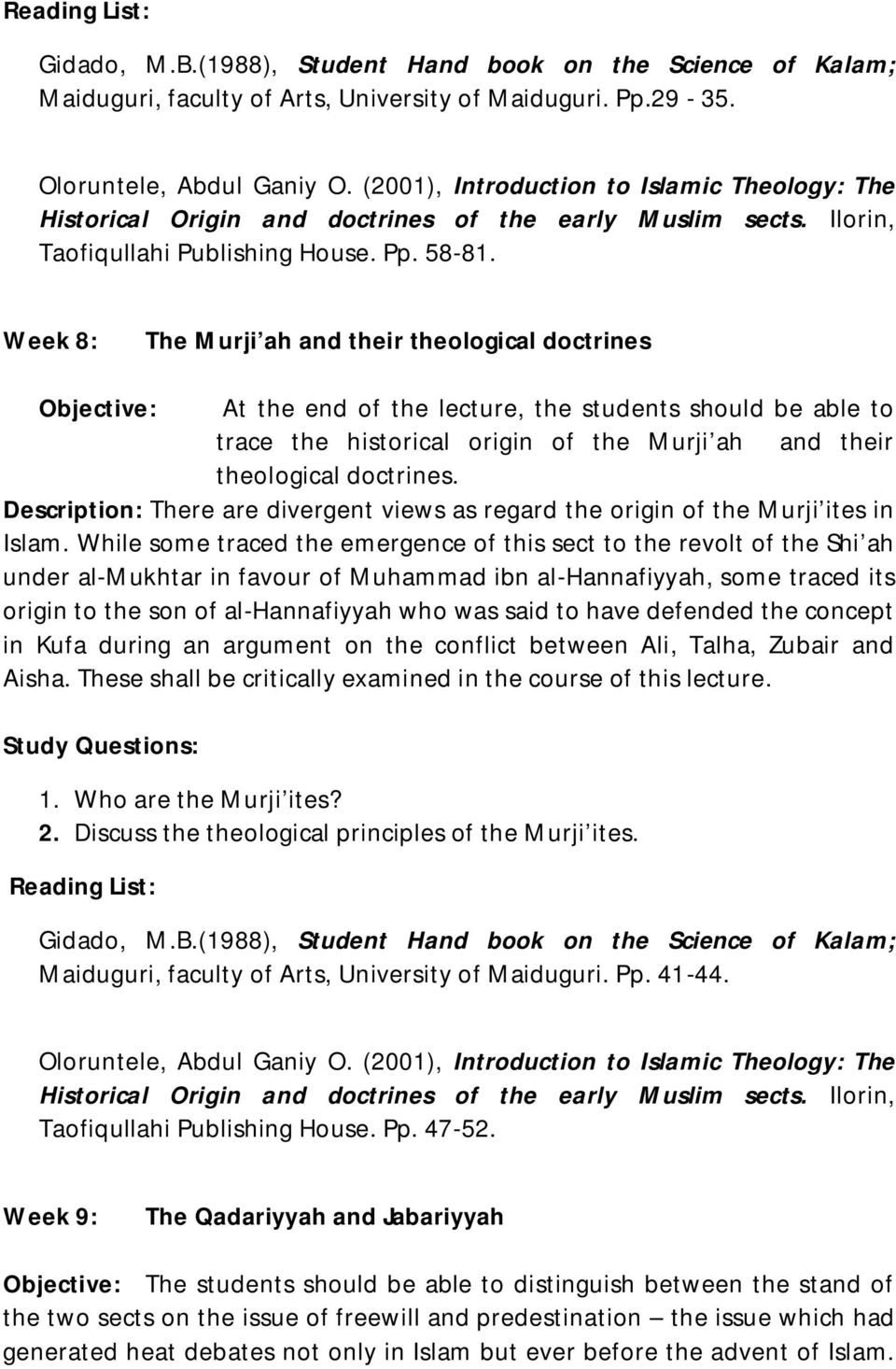 An Objective Look Into the Religion of Islam and Muslim Sects: Their Theologies and Differences