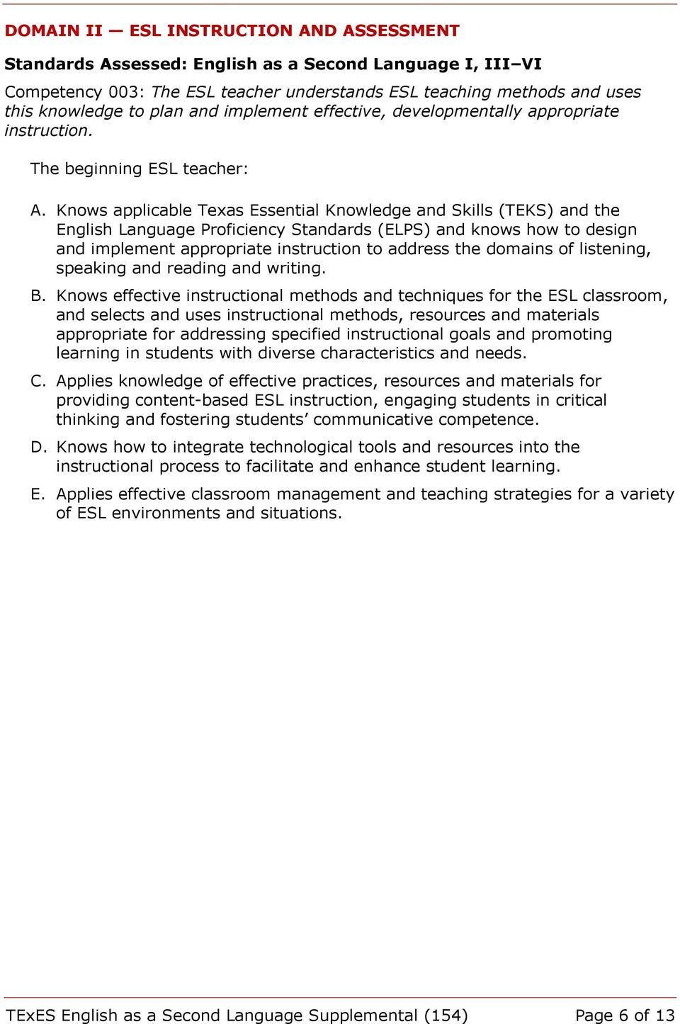 Knows applicable Texas Essential Knowledge and Skills (TEKS) and the English Language Proficiency Standards (ELPS) and knows how to design and implement appropriate instruction to address the domains