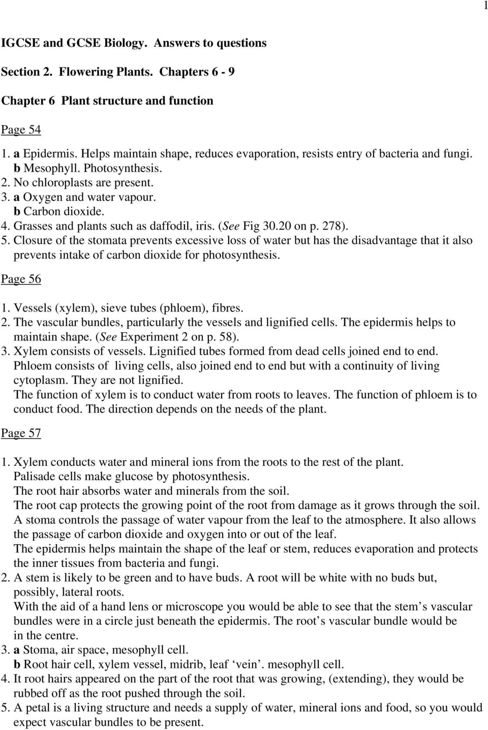 Igcse And Gcse Biology Answers To Questions Section 2 Flowering
