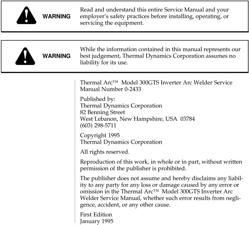 Thermal Arc Model 300GTS Inverter Arc Welder Service Manual Number 0-233  Published by: