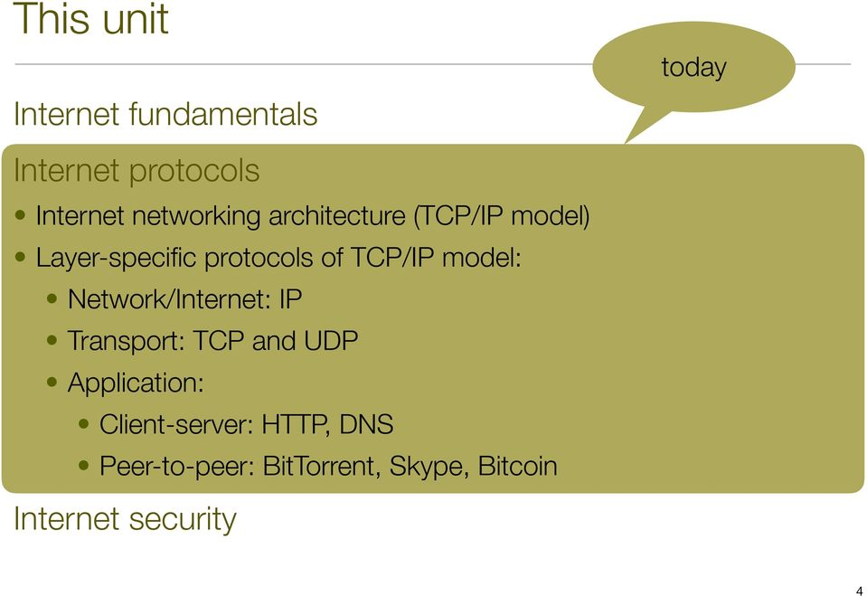 TCP/IP model: Network/Internet: IP : TCP and UDP :